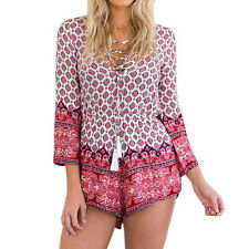 Women Lace Up Scoop Neck 3/4 Sleeves Novelty Prints Romper