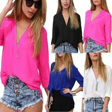 Blouse Chiffon Shirt Long Sleeve Beach Summer Womens V Neck Top AU sz 6-14