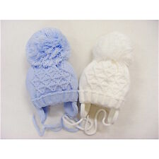 Unisex Boys Girls White Blue Knitted Pompom Winter Hat 0-18 Month *One Supplied*
