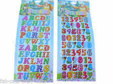 2 x SHEETS COLOURFUL LETTER, ALPHABET & NUMBERS 3D PUFFY REUSE STICKERS UKSELLER