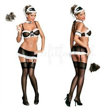 FRENCH MAID OUTFIT BRA TOP MATCHING GARTER SKIRT WITH PANTY COSTUME S/M-2X