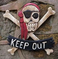 Keep Out Door Sign Pirate Skull and Cross Bones Jolly Roger