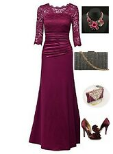 Women's 3/4 Sleeve Evening Party Long Floral Lace Pleated Vintage Dress
