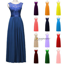 Stock New Formal Long Lace Wedding Bridesmaid Dress Evening Prom Party Ball Gown