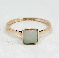 Stunning Edwardian Art Deco 9ct Yellow Gold Cushion Opal Solitaire Ring / Size N