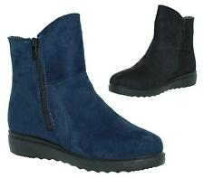 Womens Ladies Fur Warm Winter Flat Zip Up Pull On Ankle Boots Shoes New Size 3-8