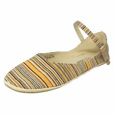Ladies F2187 Orange striped textile shoes with ankle strap by SPOT ON