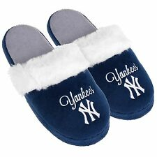NY New York Yankees Womens Colorblock Fur Slide Slippers MLB New Style