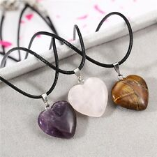 Women Agate Stone Heart Pendant Necklace Black Cords Chain Necklace Gift 17.7""