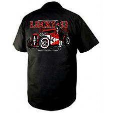 Men's Lucky 13 Adrian Workshirt Black Rockabilly Hot Rod Rat Rod Pinup