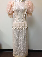 VINTAGE PINK LACE 80's DOES 30's VICTORIAN STEAM PUNK PEPLUM DRESS sz S