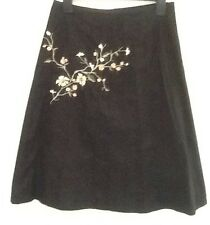 Black cotton embroidered flower skirt size 10