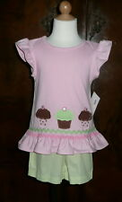 Bailey Boys Toddler Girls 2 Piece Short Set With Applique Cupcakes Sizes 2T to 4