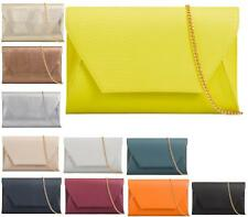 NEW LADIES CLUTCH EVENING FAUX LEATHER WEDDING ENVELOPE WOMENS PROM PARTY BAG