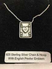 Ace Of Hearts Card R150 Emblem on a 925 Sterling Silver Necklace 16,18,20,26,30