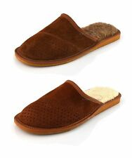 New White Brown Wool Mule Mens Slippers Shoes Sheepskin UK size 6 7 8 9 10 11 12