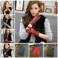 NEW Womens Warm Winter Gloves Ladies Soft Real Genuine Leather Bow Cut