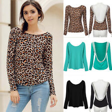 New Women Fashion Long Sleeve Casual Lace Halter Blouse Loose Tops T Shirt b3