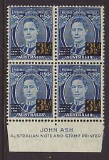 1941 3 1/2d Blue Surcharges imprint block of 4 very fresh MNH.