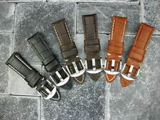24mm Leather Strap Tang Buckle Watch Band Small PANERAI Short S Brown Blue Black