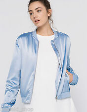 PULL AND BEAR (ZARA group) pale blue silk satin bomber jacket 9710342 SS16