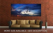Wall Art Canvas Print Picture  Jet Airplane Wing Engine Sky Clouds-Unframed