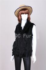 Special Offer Knit Rabbit Fur Vest Gilet with Raccoon Fur Collar Waistcoat Lady