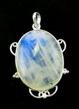 Natural Rare High Blue Fire Flash Rainbow Moonstone 925 Sterling Silver Pendant