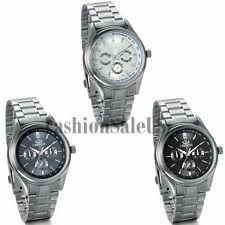 Men's Classical Stainless Steel Band Rhinestone Dial Quartz Wrist Watch Watches