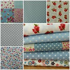 Fabric Bundle Blues Retro/Vintage Floral 100% Cotton 10 Piece Patchwork Scraps