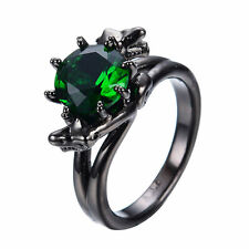 Emerald Green CZ Gothic Dragon Ring 10KT Black Gold Filled Jewelry Size 6-10