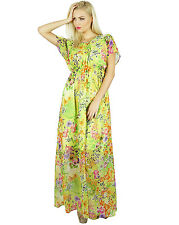 Bimba Women Bohemian Style Long Semi Sheer Chiffon Dress Half Lined Maxi Gown