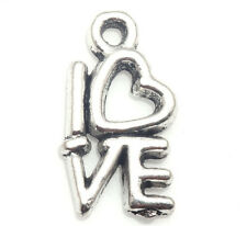 40/400 PCS Tibetan silver Craft Jewelry Making LOVE Heart Letter Charms Pendants