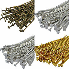 30mm & 50mm Jewellery Findings Bronze, Gold & Silver Plated Metal Flat Head Pins