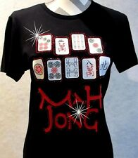 Rhinestone T-Shirt Mahjong Tiles Graphic Tshirt LAT Ringspun Cotton Short Sleeve