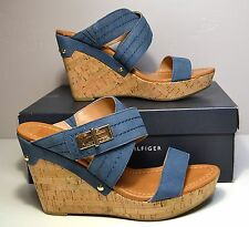 NIB WOMEN TOMMY HILFIGER MILI LIGHT BLUE SUEDE WEDGE SANDALS SHOES SZ 9, 10
