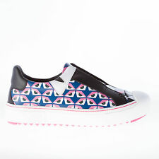 FENDI women shoes Blue and pink leather Bug eyes design slip on sneaker