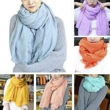 Womens Fashion Cotton Linen Soft Flower Long Scarf Shawl Stole Scarves