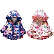 Baby Kids Girls Winter Hooded Hoodie Down Coat Jacket Floral Printed Outwear New