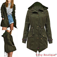 BRAVE SOUL NEW WOMENS OVERSIZED HOOD LADIES FISHTAIL PARKA JACKET MILITARY COAT