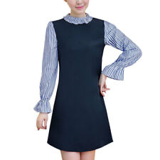 Women Ruffled Collar Long Sleeves Stripes Layered Tunic A Line Dress