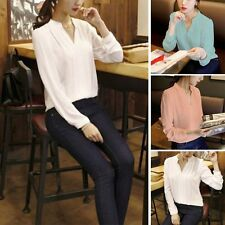 Women's V-neck Loose Chiffon Solid Tops OL Office Lady Long Sleeve Shirts Blouse