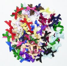 20 Satin Ribbon Mini Bows - 7mm - 23 Colours - For Weddings Crafting Card Making