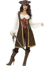 ADULT WOMENS HIGH SEAS PIRATE WENCH COSTUME BUCCANEER FANCY DRESS - 3 SIZES