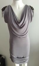 NEW Ladies Grey Dress with bead feature on shoulders -  Ajoy Brand - Size M