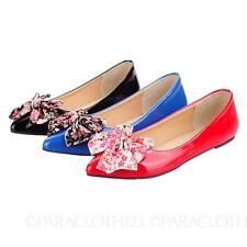 Bow Elegant Party Vintage Ladies Womens Ballet Flats AU sz 2 3 4 5 6 7 8 9 10