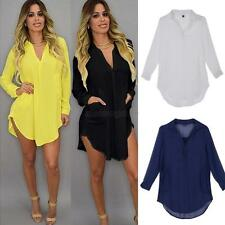 Women Ladies Summer Casual Loose Long Sleeve Chiffon Blouse Tops Dress Plus Size