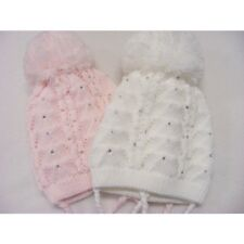 Baby Girls White Pink Cream Crystal Knitted Pompom Winter Hat  0-12 M 1 Supplied