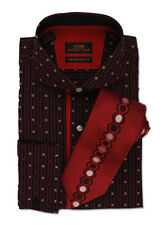 Dress Shirt by Steven Land Spread Collar Rounded French Cuff-Red-DA509-RD