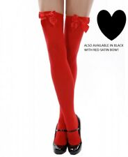 Leg Avenue Opaque Satin Bow Thigh High Stockings 6255 Black Red One Size New